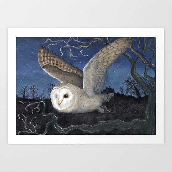Barn Owl at Night Art Print