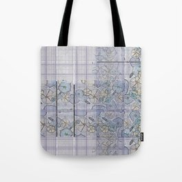 Plaid Tartan & Morning Glories Tote Bag