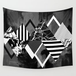 STAND OUT! In Black And White - Abstract, textured geometry! Wall Tapestry