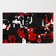 Black Red and White Glitch Rug