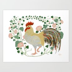 Rooster and morning glory Art Print