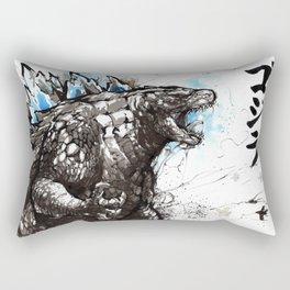 Godzilla sumi/watercolor art Rectangular Pillow