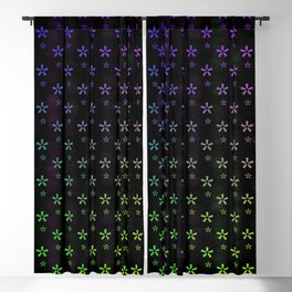 Large rainbow ombre stars on black background Blackout Curtain