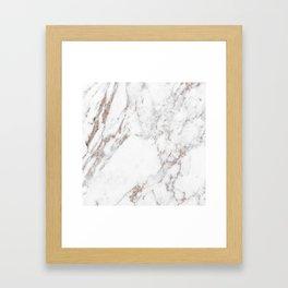 Rose gold shimmer vein marble Framed Art Print