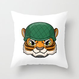 Tiger as Soldier with Helmet Throw Pillow