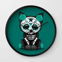 Cute Teal Blue Day of the Dead Kitten Cat Wall Clock