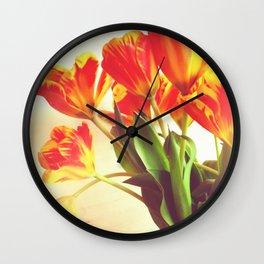 Orange Tulip Bouquet Wall Clock
