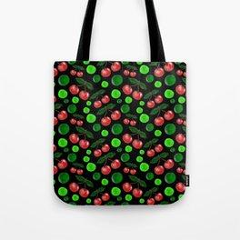 Cherries on Black Tote Bag