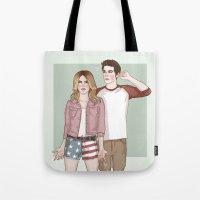 stiles stilinski Tote Bags featuring Malia Tate/Stiles Stilinski by vulcains
