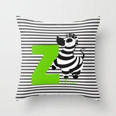 z for zebra Throw Pillow