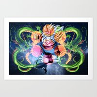 dbz Art Prints featuring DBZ - Goku by Mr. Stonebanks