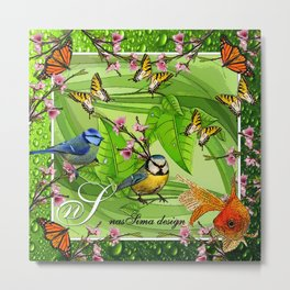Birdy & Fishy spring green Metal Print