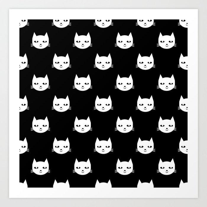Cat Minimal Ilration Pet Cats Head Drawing Digital Pattern Black And White Nursery Art Print