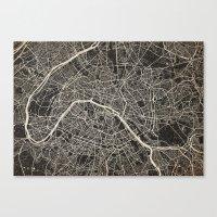paris map Canvas Prints featuring Paris map by Les petites illustrations