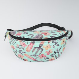Spring Gardening - peach blossoms on mint Fanny Pack