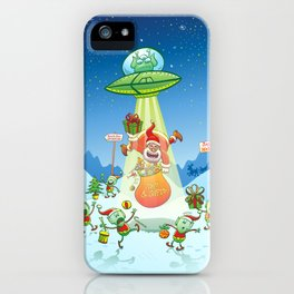 Santa Claus Abducted by a UFO just before Christmas iPhone Case