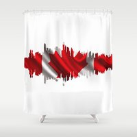 vancouver Shower Curtains featuring City silhouette Vancouver. by South43