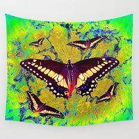 butterflies Wall Tapestries featuring butterflies  by  Agostino Lo Coco