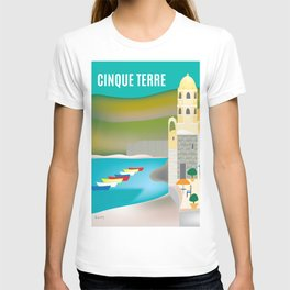 Cinque Terre, Italy - Skyline Illustration by Loose Petals T-shirt
