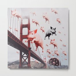 THE FLYING PIGS - Golden Gate Bridge - Collage Artwork Funny Metal Print