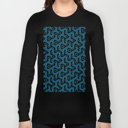 Squiggle Trails Black and Blue Long Sleeve T-shirt
