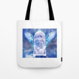 Retro Blue Glow Flying Jukebox Tote Bag