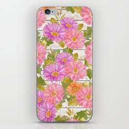 Rustic white wood pink lavender coral watercolor floral iPhone Skin