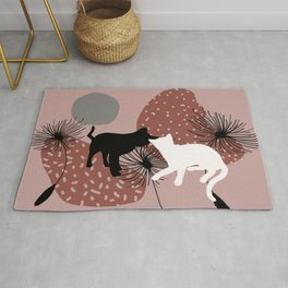Black and white Cat with Dandelion Flowers Rug