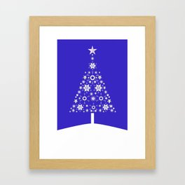 Christmas Tree Made Of Snowflakes On Purple Background  Framed Art Print