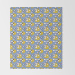 Sloth pattern in blue Throw Blanket