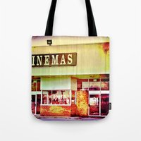 cinema Tote Bags featuring Abandoned Cinema by Elina Cate