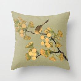 Bird in Ginkgo Tree Throw Pillow