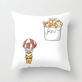 Cute Pocket Shiba Inus Throw Pillow