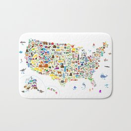Animal Map of United States for children and kids Bath Mat