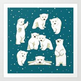 Cute Polar Bear Cubs Art Print