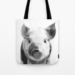 Black and white pig portrait Tote Bag