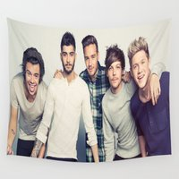 one direction Wall Tapestries featuring One direction by kikabarros