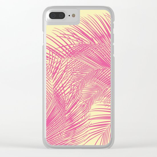 Palm Leaves, Pink Clear iPhone Case