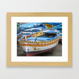 Colorful Boats at Sicily Italy Framed Art Print