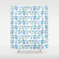 puppies Shower Curtains featuring Puppies Rule Pattern by Planet Perfect