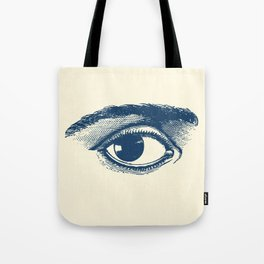 I see you. Navy Blue on Cream Tote Bag
