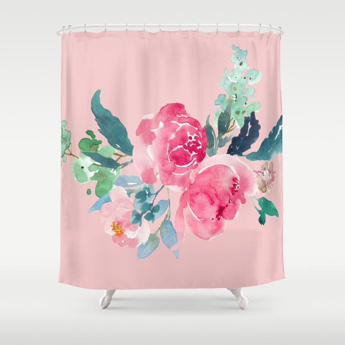 Rose Quartz Pink Peony Shower Curtain By Entirelyeventfulday