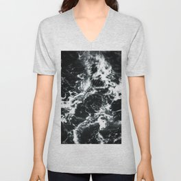 Waves - Black and White Abstract Unisex V-Neck
