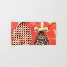 Coral Colored Hanging Christmas Ornaments Hand & Bath Towel