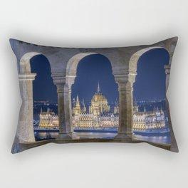 Hungarian Parliament through Fishermans bastion. Rectangular Pillow