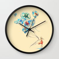 alice Wall Clocks featuring Water Balloons by Alice X. Zhang