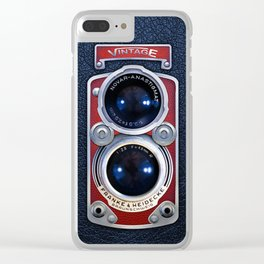 Red Retro Camera Clear iPhone Case
