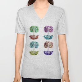 4 Trees - Watercolors Unisex V-Neck