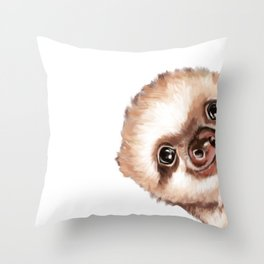 Sneaky Baby Sloth Throw Pillow