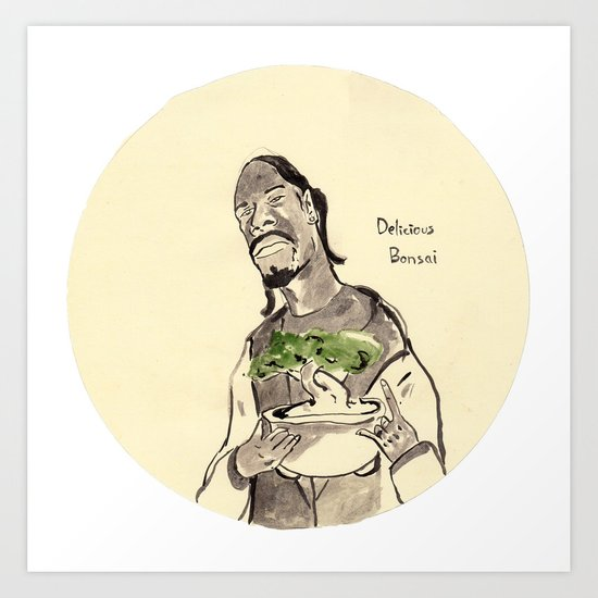 Snoop Dogg about to eat a Bonsai tree Art Print